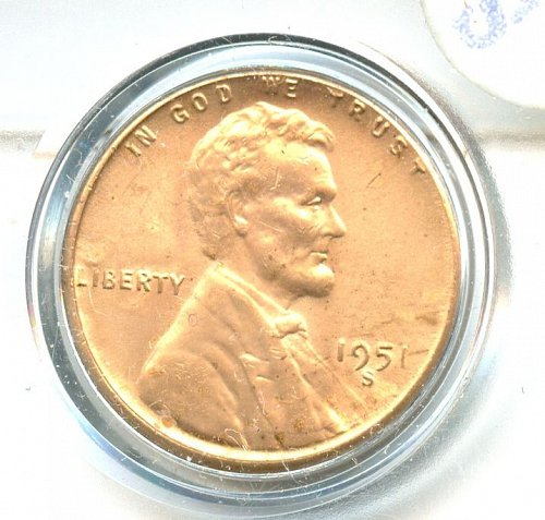 1951 S Lincoln A well struck coin with good detail Gem Bu