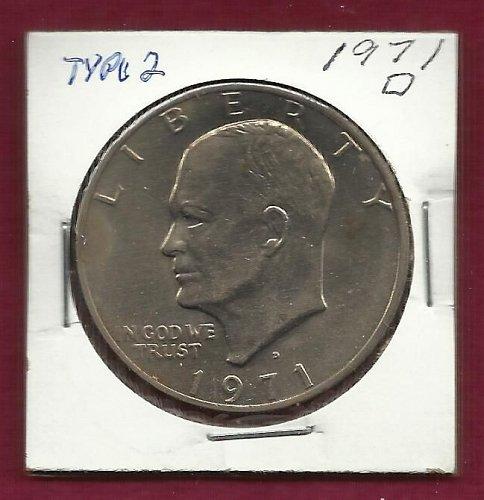 US Eisenhower (Ike) Dollar Coin 1971 D Type 2