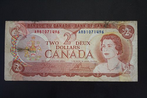 1974 CANADA TWO DOLLAR BANKNOTE