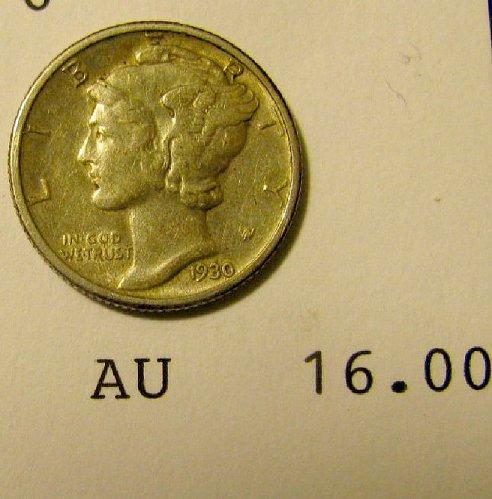 1930 sharp AU mercury Dime  ++-British WW 1 coins FOR SALE