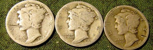 1916,17 & 18 Silver Mercury Dimes   B31-Weekend $ale!