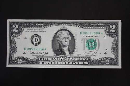 1976 USA TWO DOLLAR REPLACEMENT STAR BANKNOTE