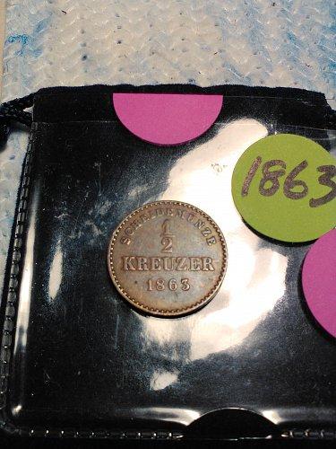 1863 GERMAN STATES 1/2 KREUZER