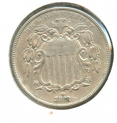 1868 5C Shield Nickel Philadelphia XF/AU