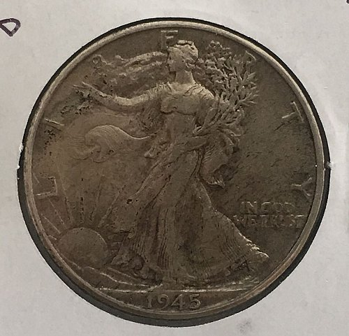 1945 D Walking Liberty Half Dollar - Toned