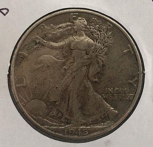 1945 D Walking Liberty Half Dollar - Toned