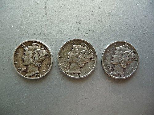1939- P, D, S   Mercury Dimes