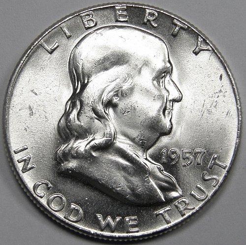 1957 P Franklin Half Dollar #1