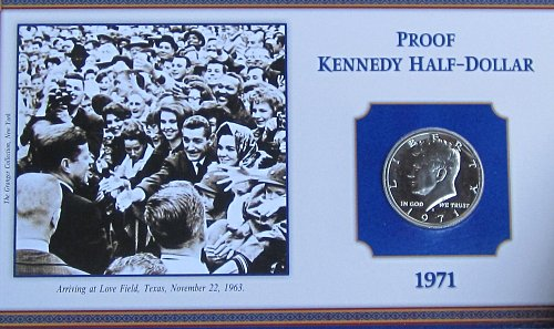 1971 S PROOF KENNEDY ON COLLECTOR BOARD