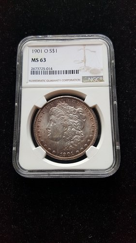 1901 O Silver Morgan Dollar NGC MS63 With Nice Observe Toning