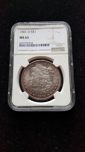 1901 O Silver Morgan Dollar NGC MS63 With Nice Observe Toning