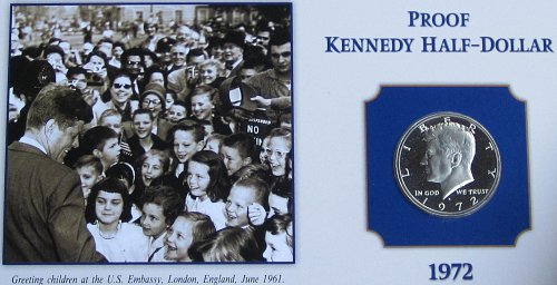 1972 S PROOF KENNEDY ON COLLECTOR BOARD