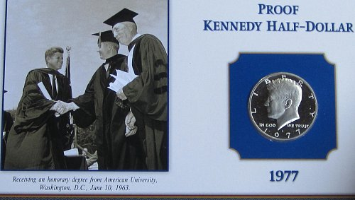 1977 S PROOF KENNEDY ON COLLECTOR BOARD