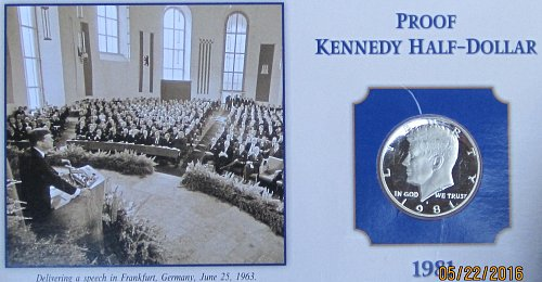 1981 S TYPE 2 KENNEDY HALF ON COLLECTOR BOARD