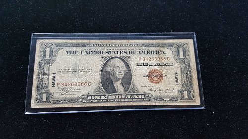 1935 A Hawaii Issue WWII Note $1 Silver Certificate