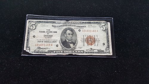 1929 National Currency $5 Federal Reserve Bank Chicago