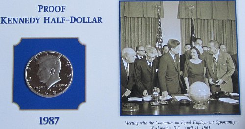 1987 S  KENNEDY HALF ON COLLECTOR BOARD