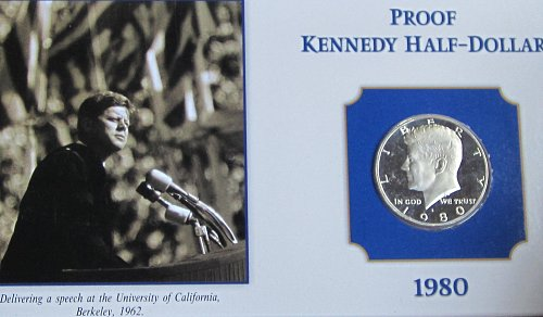 1980 S KENNEDY HALF ON COLLECTOR BOARD