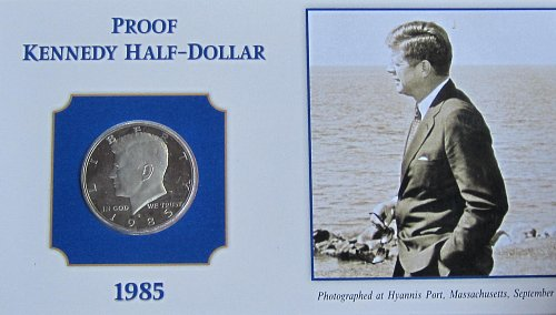 1985 S KENNEDY HALF ON COLLECTOR BOARD