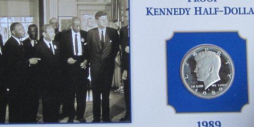 1989 S KENNEDY HALF ON COLLECTORS BOARD