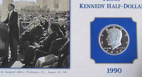 1990 S KENNEDY HALF ON COLLECTOR BOARD