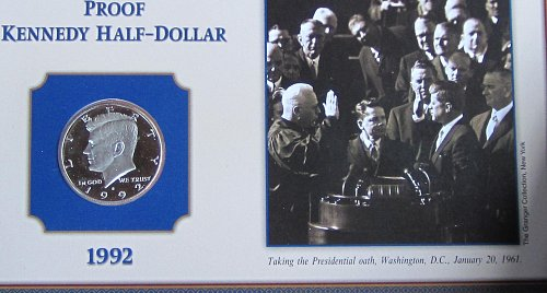 1992 S KENNEDY HALF ON COLLECTORS BOARD