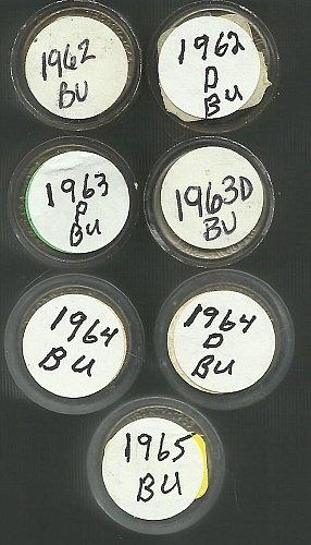 7 BU Rolls Jefferson Nickels 62P 62D 63P 63D 64P 64D 65P   Starting 4.00 Roll