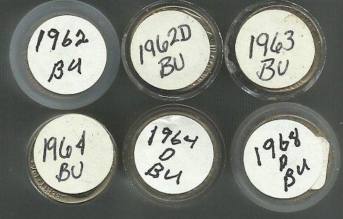 7 BU Rolls Jefferson Nickel Rolls  1962 To 1968D + 2005 Buffalo Bison Roll