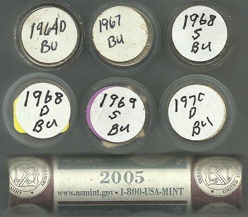 7 BU Rolls Of Jefferson Nickels 1964P To1970D + 2005 Buffalo Bison Roll!!!!