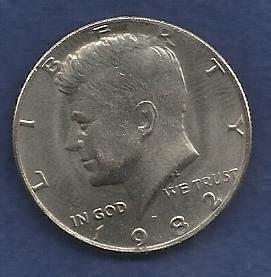 US $ Half Dollar 1982 P - Kennedy Half