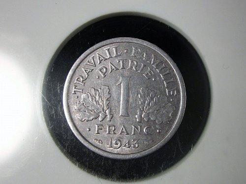 1943 France 1 Franc  Light Type