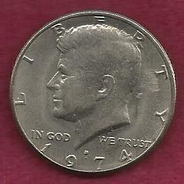 US $ Half Dollar 1974 D - Kennedy Half