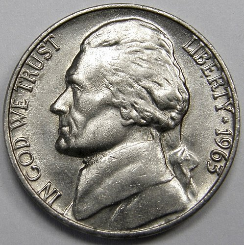 1963 D Jefferson Nickel #2   5˚ Rotated Reverse as shown