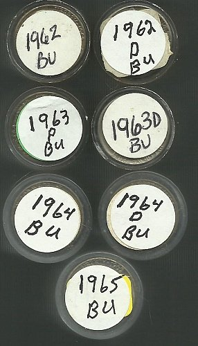 7 Rolls Unc Jefferson Nickels 1962P To 1965!!!!!
