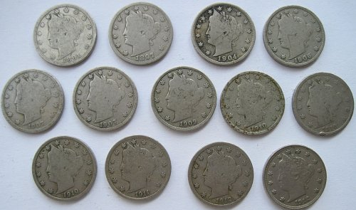 Liberty Nickel Lot of 13 Coins