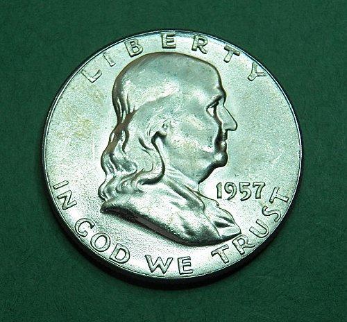 1957 P Franklin half Dollar Brilliant Uncirculated Coin   f88