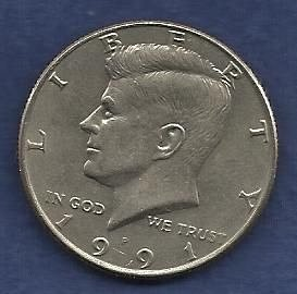 US $ Half Dollar 1991 P - Kennedy Half