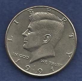 US $ Half Dollar 1991 P - Kennedy Half