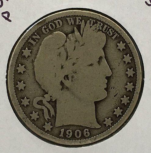 1906 P Barber Half Dollar