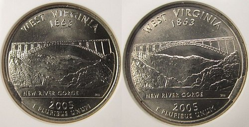 (2) 2005 West Virginia Quarter CUDS Both different and graded