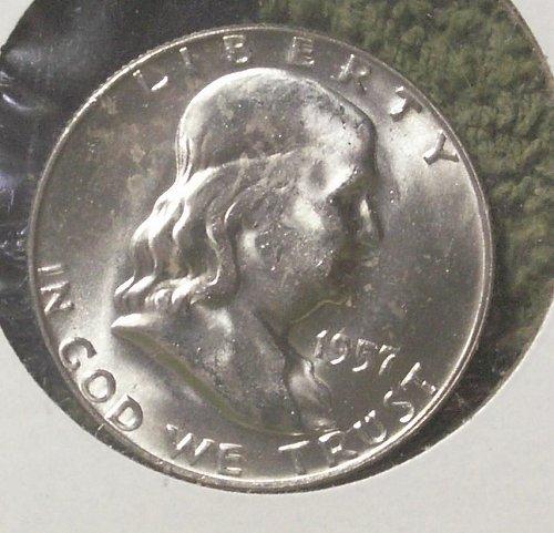 1957 D Franklin Silver Half Dollar Near FBL Unc