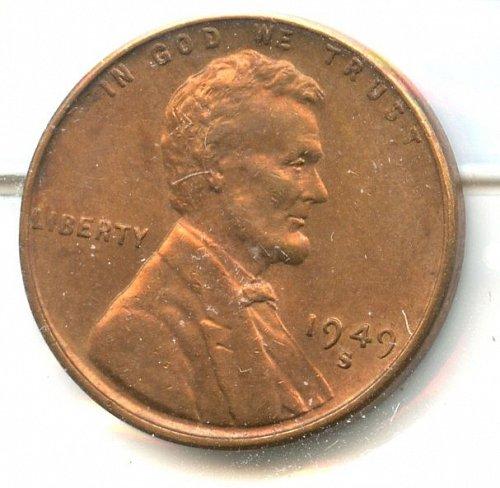 1949 S Lincoln Cent BU bronze SanFrancisco