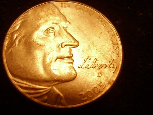 2005 D Jefferson Nickel   A/U      (ERROR)