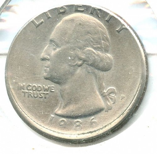1986 P Washington Quarter off center 15%  Philadelphia Clad