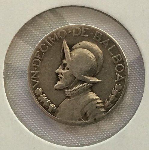 1930 Panama 1/10 Balboa .900 Silver