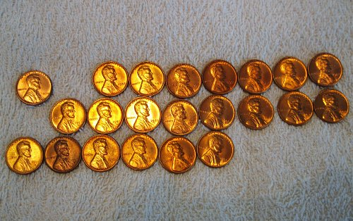 1950's Uncirculated Lincoln Wheat Cents B.U. Red