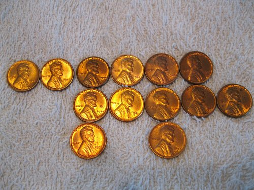 1940's Uncirculated Lincoln Wheat Cents B.U. Red