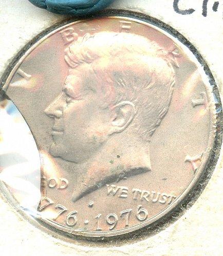 1976 Bicentennial Kennedy Half dollar BU 30 % Clipped