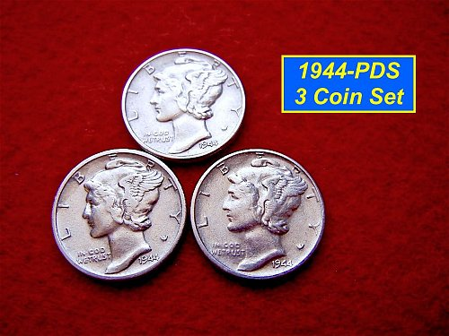 1944 YEAR-SET    Mercury Dimes   🎯   SF, Denver & Philly Coins ( #3225)