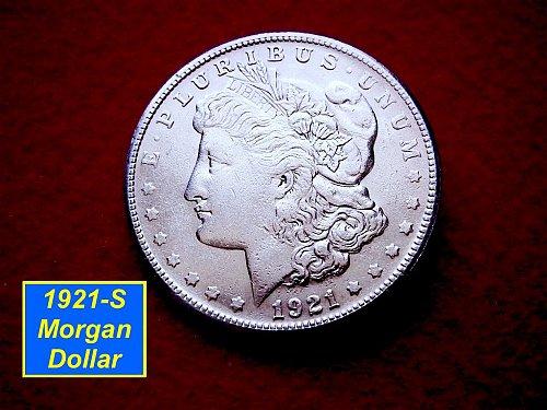 1921-S Morgan Silver Dollar  Average Circulated Condition  (#5116)